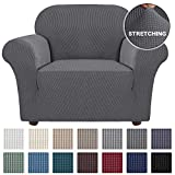 Turquoize Stretch Chair Slipcover Sofa Cover Furniture Protector Cover for Living Room Sofa Couch Cover Chair Covers with Elastic Bottom, Checked Jacquard Thick Fabric Machine Washable (Chair, Grey)