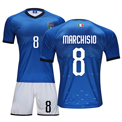 DDSC # 9 Balotelli Trikot # 3 Chiellini Fußball Uniform Set, Nationalmannschaft Club Kurzarm Shorts Training Wettkampfanzug für Herren Kind Geschenk -Top Hemd Blue(#8)-XL