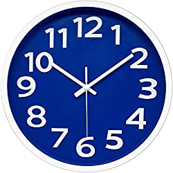12 Inch Modern Wall Clock Silent Non-Ticking Battery Operated 3D Numbers Bright Color Dial Face Wall Clock for Home/Office Decor,Blue