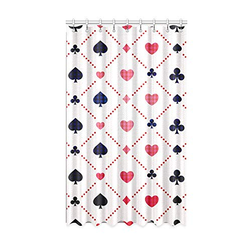 N\A Schlafzimmer Verdunkelungsvorhänge Satz Spielkarten Symbol Anzüge Innenfenster Vorhang 50 x 84 Zoll EIN Stück für Patio Glasschiebetür/Schlafzimmer