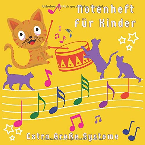 Notenheft Für Kinder: Notenheft Breite Linien für Kinder und Anfänger | 5 Notensysteme für Musikübungen | Notenheft Kinder Blanko | 80 Seiten | Gelb