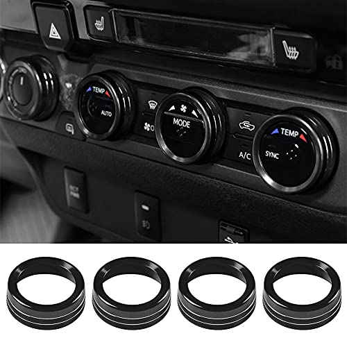 Thor-Ind for Toyota Tacoma Air Conditioner AC Switch Audio CD Button Knob Cover Trim Compatible with Toyota Tacoma 2016 2017 2018 2019 2020 2021 2022 (Black)