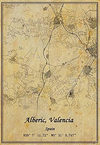 Póster de España Alberic, mapa de Valencia para pared con impresión en lienzo, estilo vintage, sin marco, decoración de regalo de 50 x 70 cm