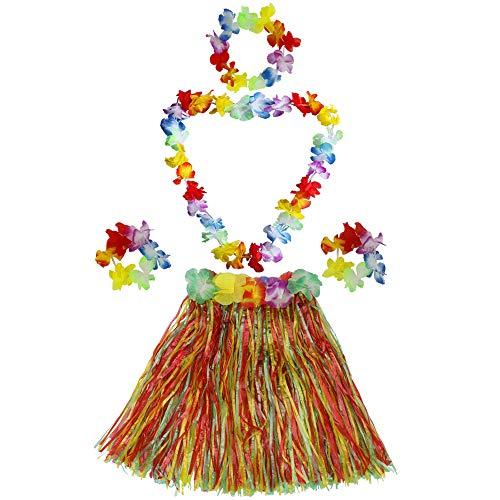 Fighting to Achieve Kid's Elastic Hawaiian Hula Dancer Grass Skirt with Flower Costume Set -Multi-Color