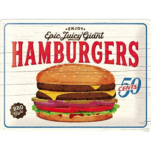 Cartel de Chapa Retro USA – Hamburgers – Idea de Regalo para la Cocina, metálico, Diseño Vintage para decoración Pared, 30 x 40 cm