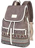 DCCN Damen Rucksack Canvas PU Schultertasche Umhängetasche Schulrucksack Laptop Casual Backpack...
