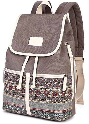 Damen Rucksack Canvas PU Schultertasche Umhängetasche Schulrucksack Laptop Casual Backpack Reise Rucksack Daypack Damen