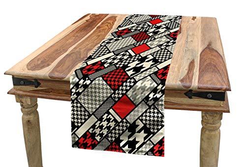 ABAKUHAUS Moderno Camino de Mesa, Diseño Minimalista, Decorativo para el Comedor o Sala de Estar Fácil de Limpiar, 40 x 180 cm, Blanco Rojo Negro