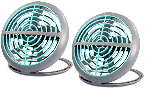 Eaxus®️ 2er Set UFO USB Ventilator - Mini Tischventilator mit USB-Kabel, Modernes Blau