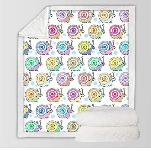 Sniglar barn överkast filt fleece täcke sängar tecknad plysch fluffiga sängkläder överkast färgglad sherpa filt 150 x 200 cm