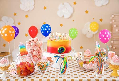 vrupi Süße Bunte Dessert-Tabelle Hintergrund 10x6,5ft Vinyl Pastell Baumwolle Blumen Wand Bunte Luftballons Süßigkeiten Regenbogen Kuchen Tupfen Tabelle Fotografie Hintergrund Geburtstag Kuchen Smash