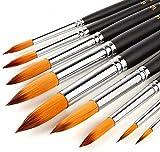U&TE 9 piezas de Cepillos de pintura de acrílico, acuarela Pincel Pintura Pincel, aguada Cepillo, cepillo de pintura, de acrílico cepillo con mango de madera regalos de cumpleaños de Navidad del artis