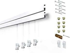 8 Hanging Components STAS Cliprail Pro Picture Hanging System Kit- Heavy Duty Track and Art Hanging Gallery Kit for Home, Office or Public Space (4 Rails 8 Hooks and Cords, White Rails)