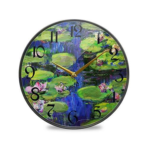 ART VVIES Reloj de Pared Redondo de 9,5 Pulgadas Que no Hace tictac silencioso Funciona con Pilas Oficina Cocina Dormitorio decoración del hogar-Estanque Lotus