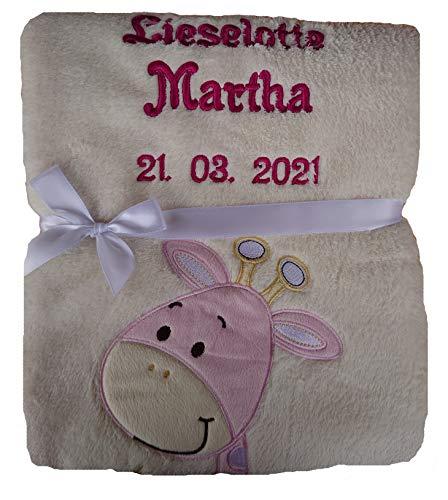 Babydecke viele Farben & Motive mit Namen / Geburtsdatum Bestickt Geschenk Baby (beige Giraffe rosa)