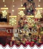 Cadena Cortina de Luces LED, Lypumso Luces de Navidad Tira Luminosa con 5 Placas con Patrones Navidad, Decoración Interior y Exterior, Alimentada por USB