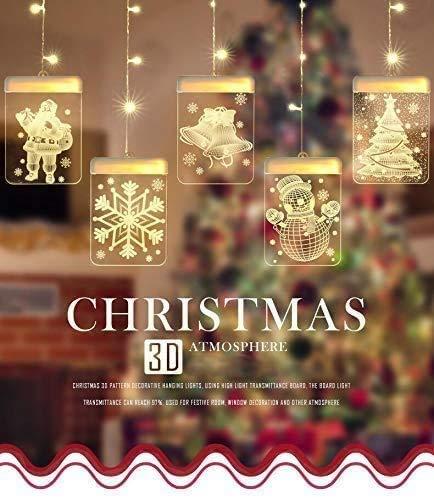Cadena Cortina de Luces LED, Lypumso Tablero Luminoso de Cadena de Luces Navideñas 1.5m con 5 Patrones Navideños, Decoración Interior y Exterior para Balcones, Ventanas Paredes. Alimentadas por USB