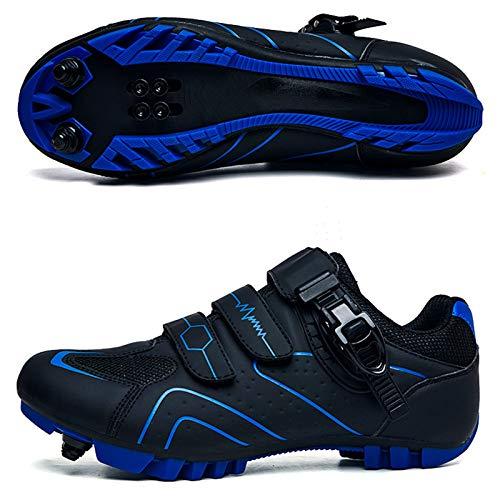 ZHOPNGY Zapatillas de Ciclismo de Bicicleta de Carretera para Hombres y Mujeres Zapatillas de Bicicleta con Bloqueo de montaña MTB Zapatillas de Ciclismo de Potencia al Aire Libre(42, Black Blue)