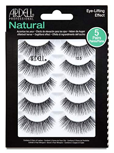 Ardell False Eyelashes Natural 105 Black, 5 pairs pack