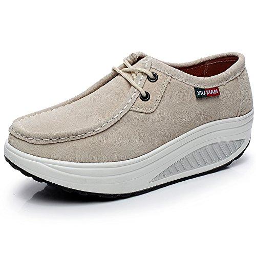 Shenn Mujer Plataforma Calzo Aptitud Para Caminar Beige Ante Cuero Entrenadores Zapatos 1061 EU37