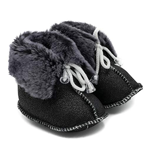 ABSoft babyschoen laarzen unisex warm voor de winter leer grafiet model 01