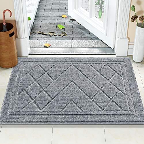 Color&Geometry Felpudo Entrada Casa Alfombra para Puertal Felpudos Atrapar Suciedad Interior y Exterior Alfombras Lavable Absorbente 50 x 80 cm, Gris Claro