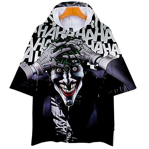 Drucken niedlichen Clown 3D Kapuze Kurzarm T-Shirt Sommer männliche und weibliche Studenten T-Shirt XXS