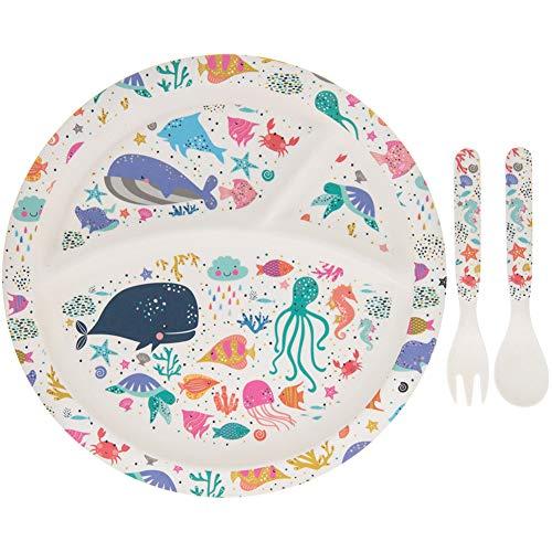 Lesser & Pavey - Set di ciotola, forchetta e cucchiaio, per bambini, ecologico, motivo: fauna marina, in bambù