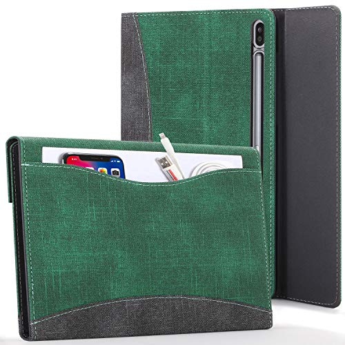 Forefront Hülles Hülle für Samsung Galaxy Tab S7 Plus - Galaxy Tab S7 Plus Hülle Ständer mit Dokumenten-Tasche und S Pen Halter - Grün - Auto Schlaf/Wach, Galaxy Tab S7 Plus 12.4 Zoll 2020 Hülle, Tasche
