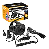 Milestone Camping 31009 AC240V/DC12 Portable Rechargeable Air Pump Inflator/Deflator for airbeds, paddling pools