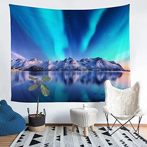 Tapiz natural para colgar en la pared de la montaña de la nieve para niños y niñas niños Galaxy Wall manta ultra suave decoración ropa de cama manta azul mediano 51 x 59
