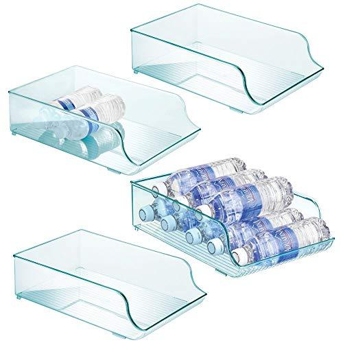 mDesign - Waterflessenhouder - lade/keukenaccessoire - voor 9 flessen water, frisdrank en andere drinken - duurzaam/plastic/praktisch - blauwe tint - per 4 stuks verpakt