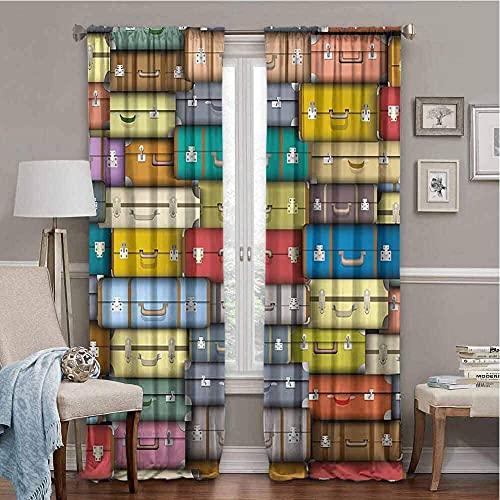 Chambre d'enfant Rideaux garçon Moderne valises colorées Fond Vintage Voyage Voyage Vacances sur Le thème Design Artistique Multicolore