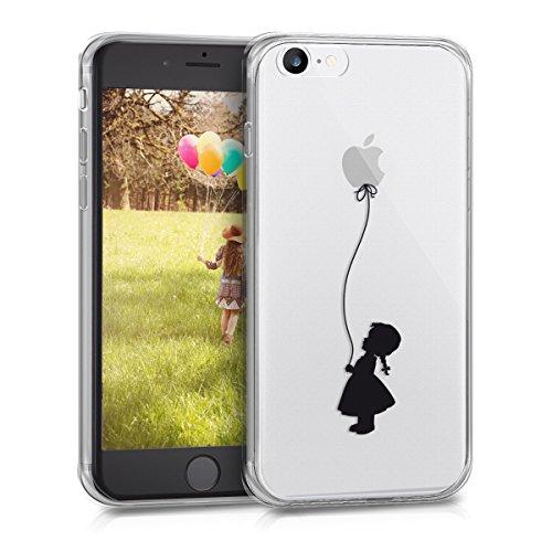 kwmobile Cover Compatibile con Apple iPhone 8 - Custodia in Silicone TPU - Back Case Cover Protettiva Cellulare Ragazza con Palloncino Nero/Trasparente