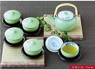 波佐見焼 湯呑 蓋付 茶器 セット 600 ml 緑巻桔梗絵 茶托 コースター 付 化粧箱入 56954