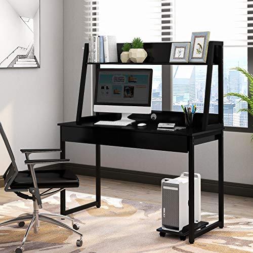 Mesa de Escritorio de Oficina en casa para computadora con Estante de Almacenamiento y estantería, Mesa de Escritura de Estudio, diseño Moderno y Simple para Ahorrar Espacio