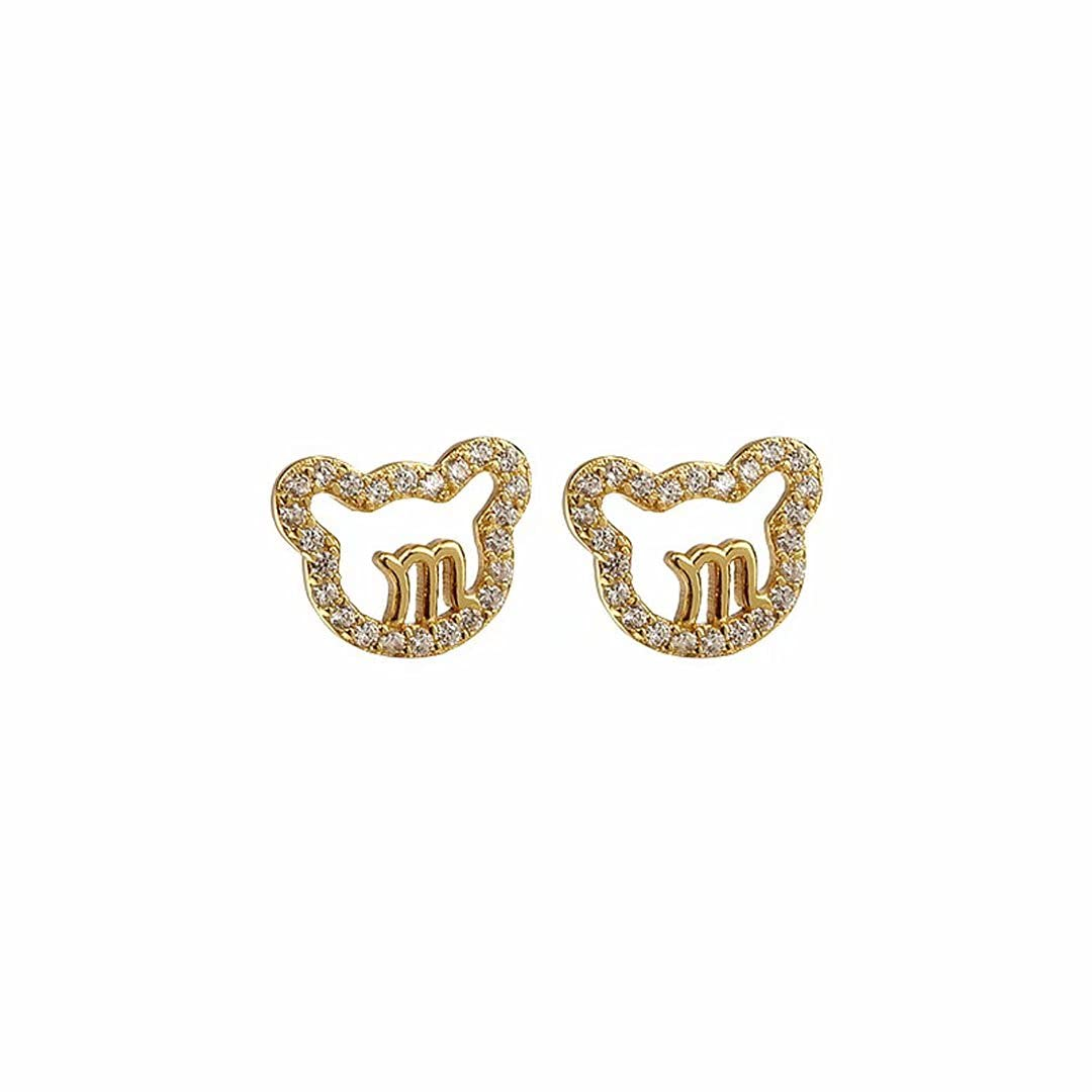 WCOLAS Bear Crystal Letter Chain Earring Stud Easy-to-use Pendant ...