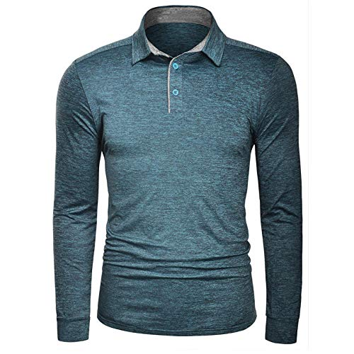 Polo Shirt Langarm,Herren Langarm Quick Dry Grüne Sweatshirt, Atmungsaktiv Farbe Slim Stretch Auf Kleidung Casual Business Golf Tennis T-Shirt Workwear Weste, M