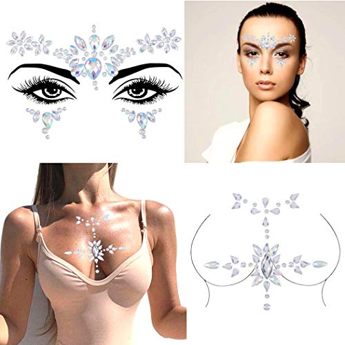 Chicque Rhinestone Face Gems Mermaid Cross Chest Gem Crystal Eyes Face Stickers Jewels Body Rave Festival Party Face Jewelry for Women and Girls 2PCS