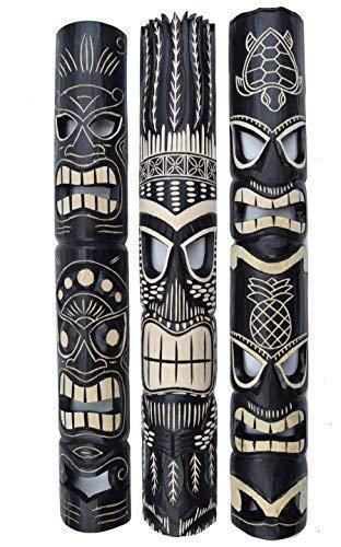 Interlifestyle 3 Tiki Wandmasken 100cm in Tiki Hawaii Style Maske Wandmaske Holzmaske