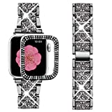 Supoix Compatible with Apple Watch Band 38mm + Case, Women Jewelry Bling Diamond Metal Strap & 2 Pack Bumper Frame Screen Protector for iWatch Series 3/2/1(Black/38mm)