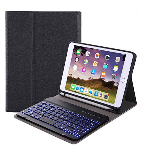 RONSHIN Voor iPad 10.2 Tablet Touch Keyboard Getextureerde PU Lederen Cover Draadloze Bluetooth3.0 Connect Overall Beschermingsstandaard Functie black iPad 10.2 backlit version