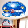 LAKIQ Kids Room Modern LED Chandelier Blue Creative Flush Mount Light with Cartoon Cloud Plane Star 8 Lights Close to Ceiling Lighting Fixture for Childrens Room Bedroom (Style B)