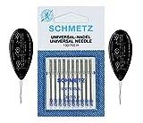 Schmetz - Lot de 10 aiguilles pour machine à coudre universelles (normal/standard), tailles assorties 70/10, 80/12 et 90/14 Assorted 70-90 + 2 Threaders