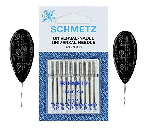 Schmetz - Agujas para máquina de coser universales (regular/estándar), varios tamaños 70/10, 80/12 y 90/14 (paquete de 10) con 2 enhebradores de agujas