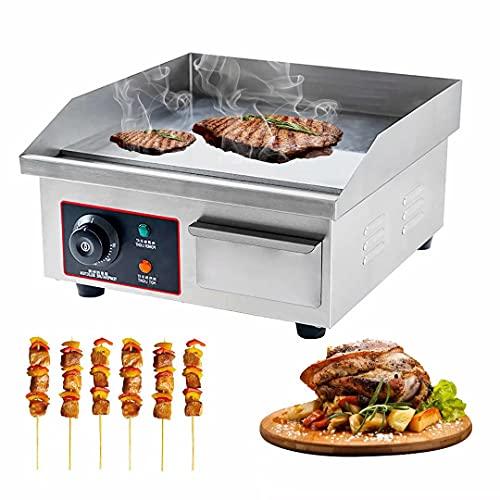 Plancha eléctrica Comercial para encimera Parrilla Superior Plana Placa Caliente BBQ Control termostático Ajustable Parrilla para...
