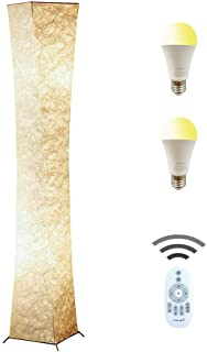 Floor Lamp, CHIPHY Tall Lamp, Dimmable and Adjustable Color Temperature 12W LED Bulbs and White Fabric Shade, with Remote Control, Standing Lamp for Bedroom, Living Room and Kids Room(64