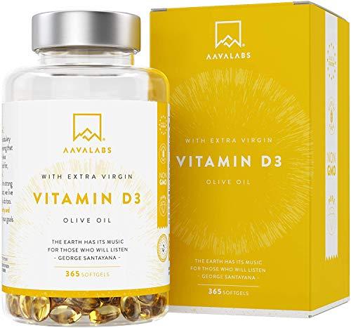 Vitamina D3 Natural [5000 UI] Depot - Altamente Concentrada - con Aceite de Oliva Extra Virgen para una Absorción Óptima - Favorece la Función Ósea e Inmunológica - Complemento Alimenticio - 365 Cáps