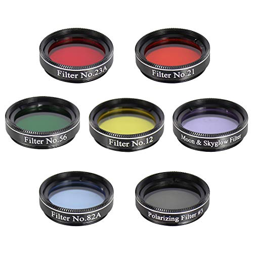 Gosky Telescope Filters Set 1.25'' 7 Filters Set for 1.25inch Telescope Eyepieces