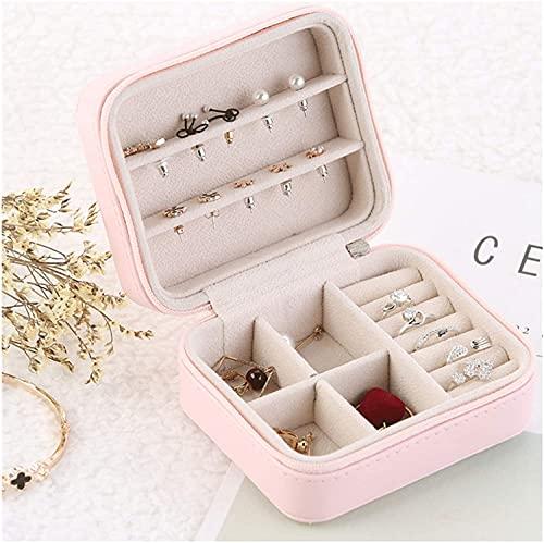 TEAYASON Pequeña caja de joyería de viaje organizador de joyas casos mini portátil caja de almacenamiento de joyas para collar, pendientes, anillos, pulsera, rosa